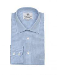 Мужская рубашка большого размера с длинным рукавом синяя Harvie & Hudson приталенная Slim Fit (01J0036BLU)